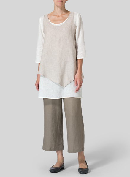 Oat/Off White Linen Double-Layer Wrap Top