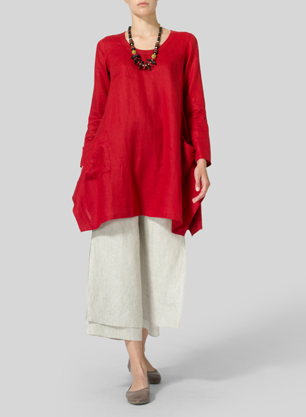 Red Linen Long Sleeve Top
