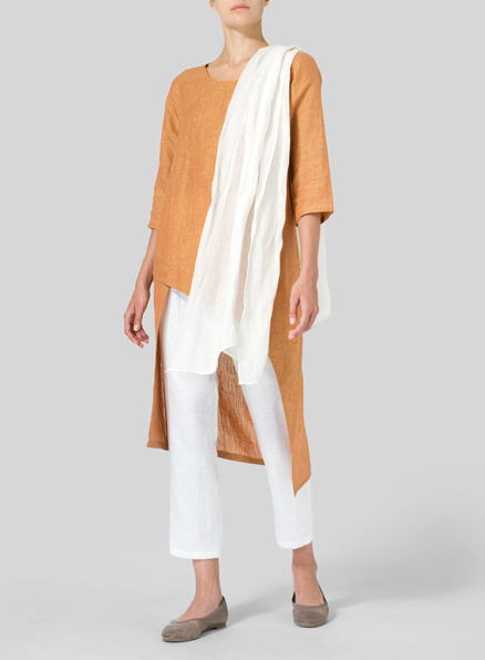 Golden Brown Linen Asymmetrical Tunic
