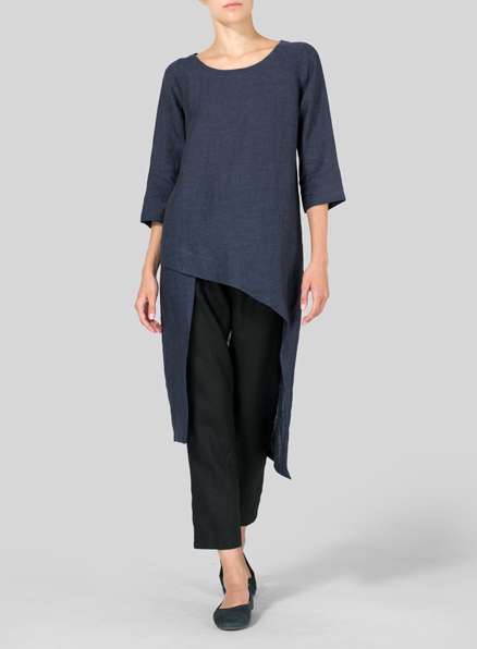 Dark Denim Linen Asymmetrical Tunic