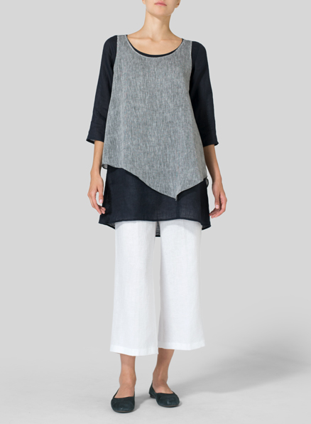 Linen Double-Layer Wrap Top