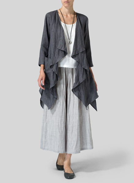 Smokey Gray Linen Waterfall Open Jacket