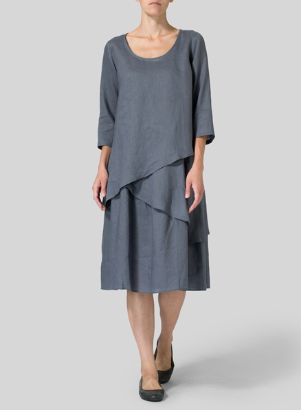 Purple Gray Linen Diagonal Layer Two Piece Set