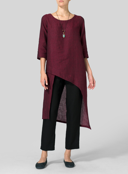 Dark Burgundy Linen Asymmetrical Tunic