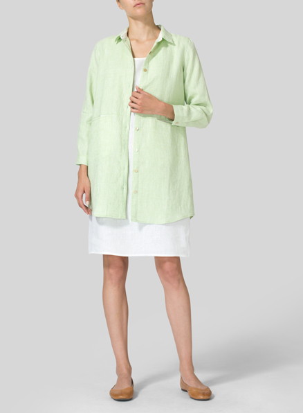 Pale Green Heavy Linen Contrast Collar Shirt Jacket