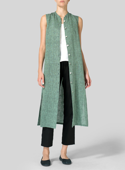 Moss Green Linen Long Vest Dress Set