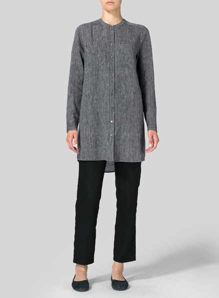 Two Tone Black Linen Mandarin Collar Long Shirt
