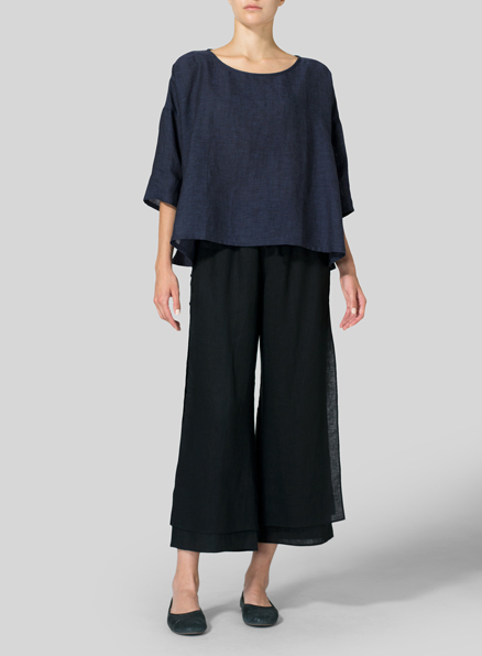 Dark Denim Linen Dropped Shoulder Long Top