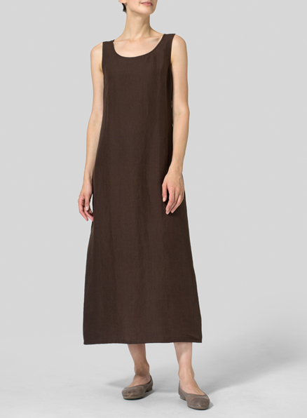 Dark Brown Linen Scoop Neck Sleeveless Long Dress