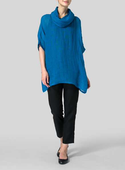 Cyan Blue Sheer Linen Turtleneck Tunic