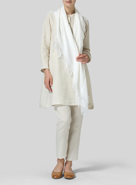 Sand Linen Long Sleeve A-Line Tunic
