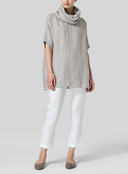 Gray Weave Linen Turtleneck Tunic