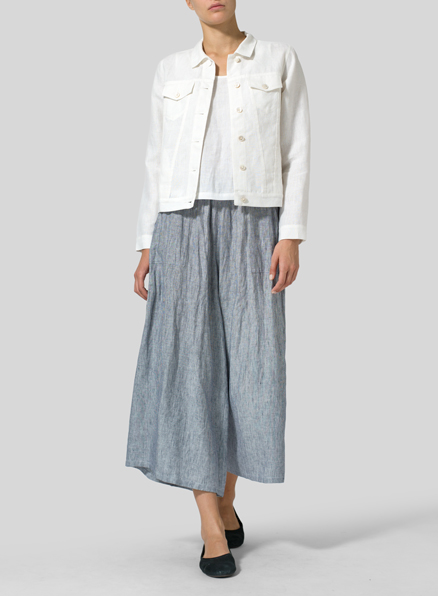 White Linen Button Front Cropped Jacket Set