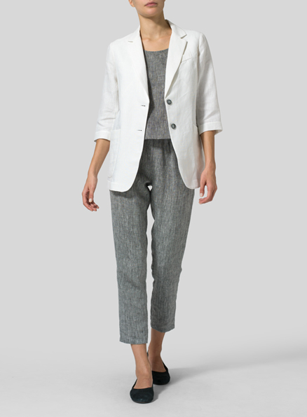 White Linen Single Breasted Jacket