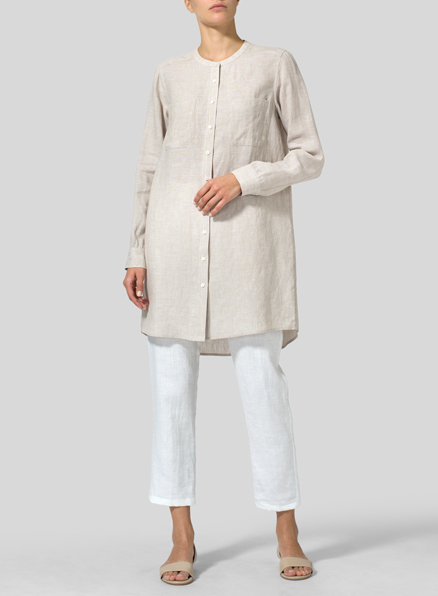 Ivory Gray Linen Mandarin Collar Long Shirt