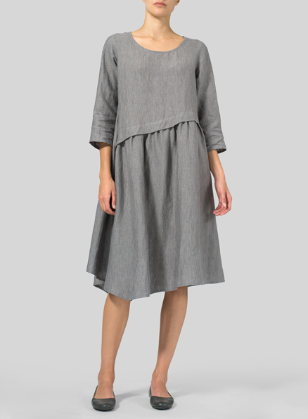 Soft Gray Linen A-line Asymmetrical Hem Dress