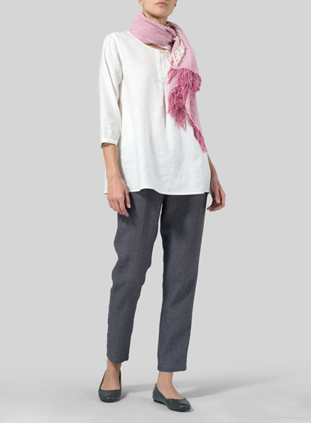 White Linen Half Sleeve Inverted Front Pleat Blouse