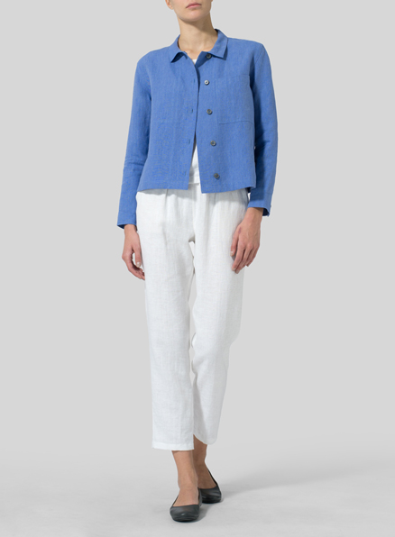Sky Blue Linen Cropped Shirt Jacket with Pockets