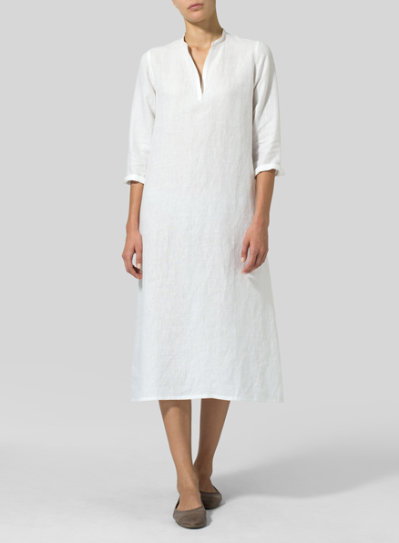 White Linen V-neck Mandarin Collar Dress Tunic
