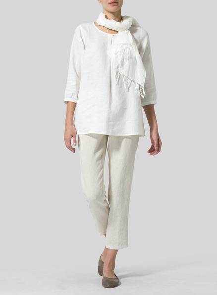 Soft White Linen Half Sleeve Inverted Front Pleat Blouse
