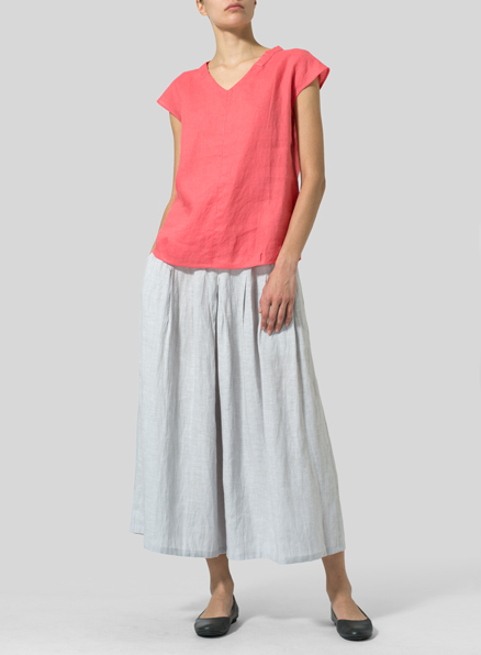 Coral Pink Linen Perfect Cap Sleeve Top