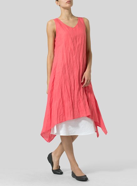 Coral Pink Linen Sleeveless Crumple Effect Long Dress