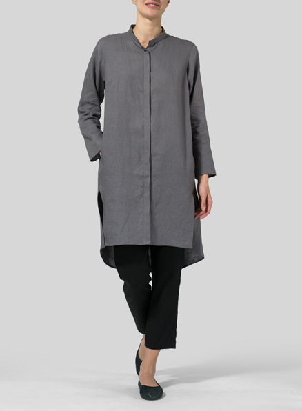 Linen Shirt Dress with Mandarin Collar