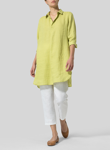 Light Green Linen Classic Shirt Tunic
