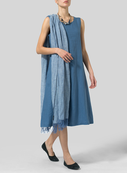 Steel Blue Linen A-Line Dress