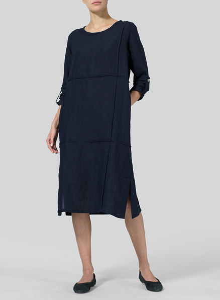 Navy Linen Side Slits Dress