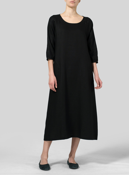 Black Linen Elbow Sleeve Long Dress