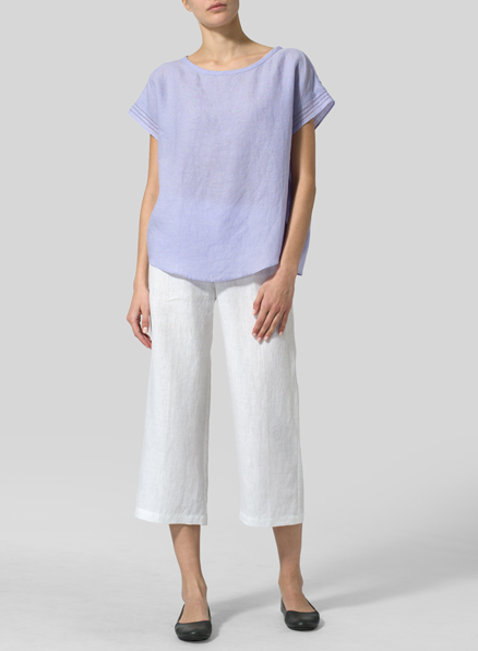 Gray Violet Linen Cap Sleeves Box Top