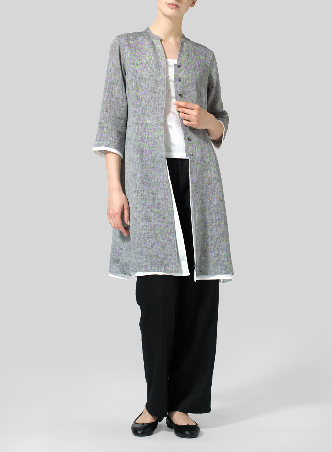 Linen Double Layers Long Top Set