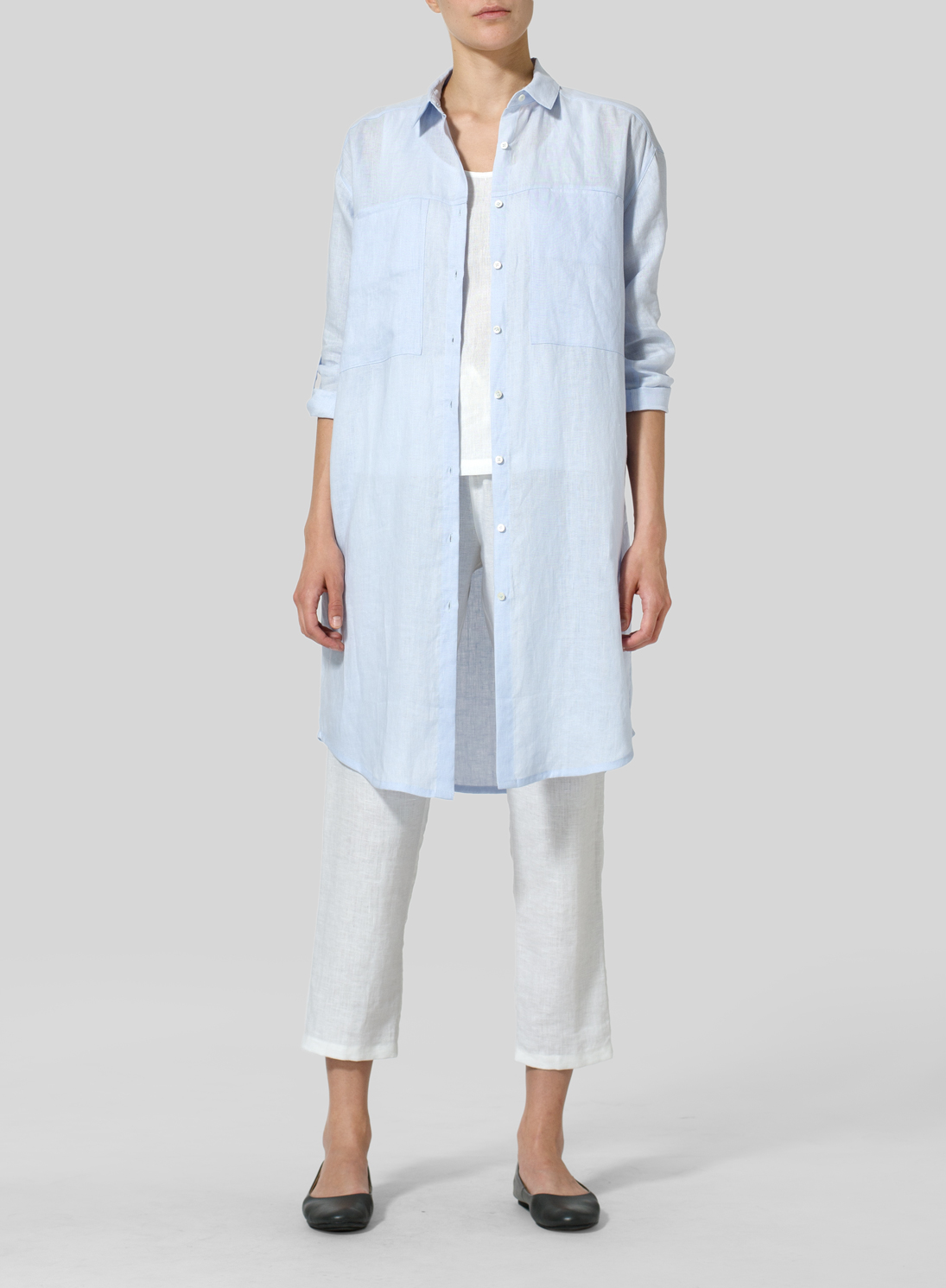 Pale Blue Linen Long Shirt