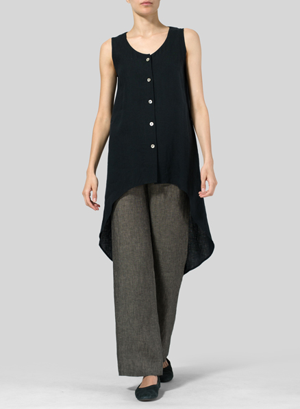 Black Linen Asymmetrical Hem Tail Top