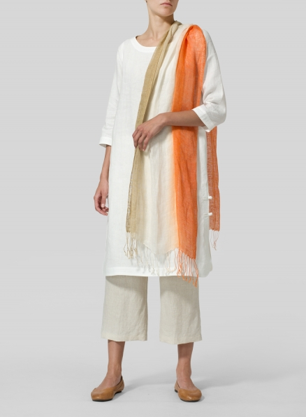 Soft White Linen Handmade Knot Long Tunic