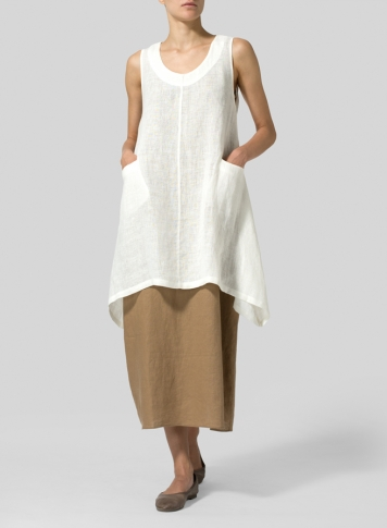 Linen High-Low Extra Long Tunic Set