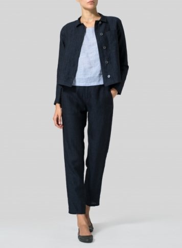 Linen Cropped Shirt Jacket with Pockets Set