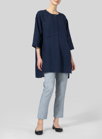 Midnight Blue Linen Chest Pocket Tunic
