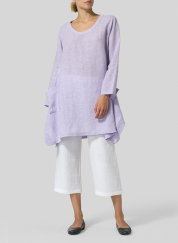 Pastel Mauve Linen Long Sleeve Top Set