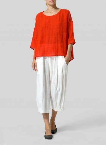 Orange Red Linen Boxy Asymmetrical Hem Top