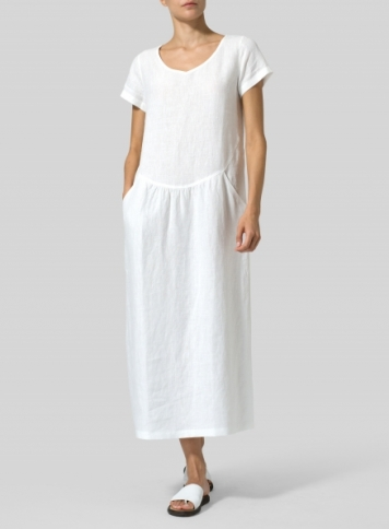 White Linen Short Sleeve Midi Dress