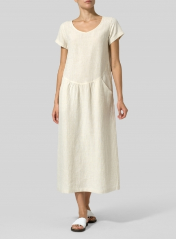 Sand Linen Short Sleeve Midi Dress