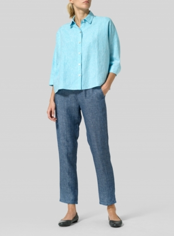 Azure Blue Linen Collar Boxy Top