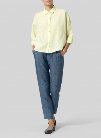 Lime Yellow Linen Collar Boxy Top
