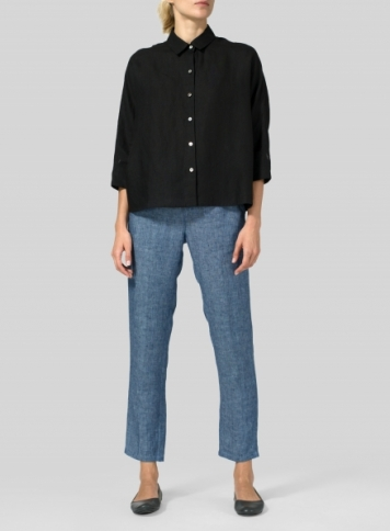 Black Linen Collar Boxy Top