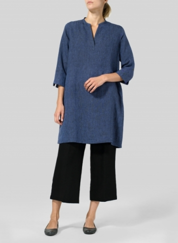 Cobalt Blue Light Linen V-neck Mandarin Collar Tunic