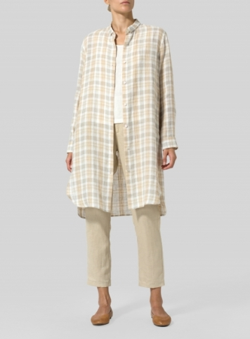 Beige Plaid Linen Stand Collar Long Shirt