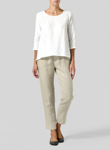 White Linen A-line High-Low Top