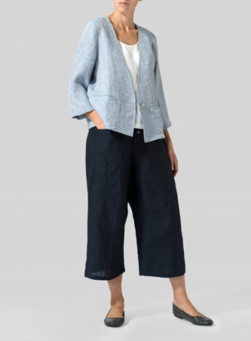 Blue White Weave Linen Boxy Fit Jacket Set